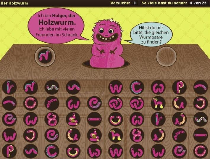 """Auf der Suche nach passenden Paaren: """"Holger der Holzwurm"""" spielt die Hauptrolle in einer der neuen interaktiven Kindergrafiken der dpa-infografik. Weiterer Text über OTS und www.presseportal.de/pm/8218 / Die Verwendung dieses Bildes ist für redaktionelle Zwecke honorarfrei. Veröffentlichung bitte unter Quellenangabe: """"obs/dpa Deutsche Presse-Agentur GmbH"""""""