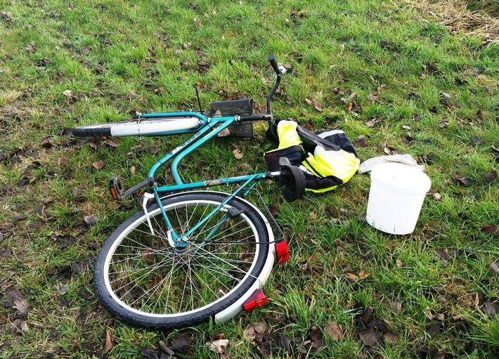 Das gefundene Fahrrad mit Jacke
