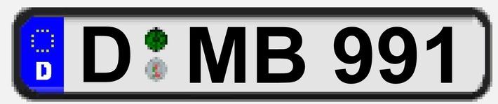 Das Kennzeichen D-MB991 gehört zu dem gestohlenen Porsche und wurde zusammen mit dem ebenfalls entwendeten Fahrzeugschein sowie dem 911 Carrera 4 GTS zur internationalen Fahndung ausgeschrieben