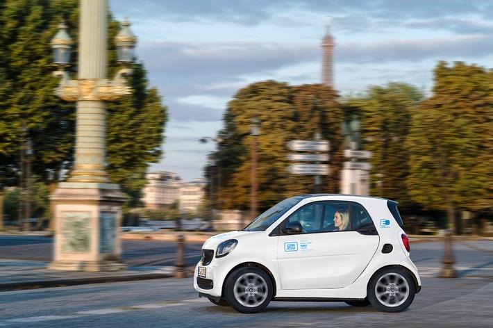 """Zum Jahresbeginn 2019 startet car2go in Paris mit einer vollelektrischen Flotte von 400 smart EQ fortwo . Weiterer Text über ots und www.presseportal.de/nr/115255 / Die Verwendung dieses Bildes ist für redaktionelle Zwecke honorarfrei. Veröffentlichung bitte unter Quellenangabe: """"obs/car2go Group GmbH/Daimler AG"""""""