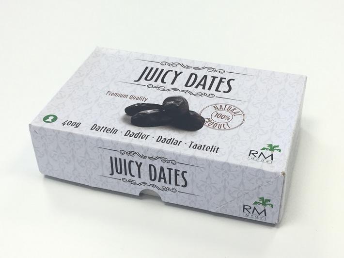 """Juicy Dates Datteln, 400 g (RM Import) / Weiterer Text über ots und www.presseportal.de/nr/129544 / Die Verwendung dieses Bildes ist für redaktionelle Zwecke honorarfrei. Veröffentlichung bitte unter Quellenangabe: """"obs/nutwork Handelsgesellschaft mbH"""""""
