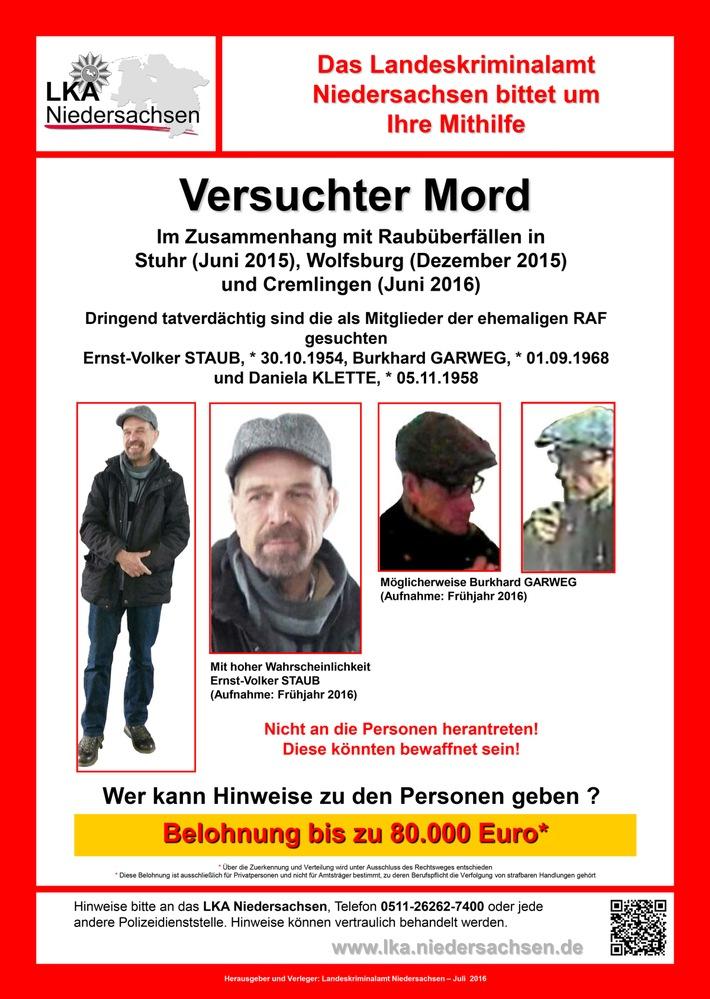 POL-E: Gemeinsame Presseinformation des Landeskriminalamts Niedersachsen und der Staatsanwaltschaft Verden: Fahndung nach den ehemaligen RAF-Terroristen STAUB, GARWEG und KLETTE