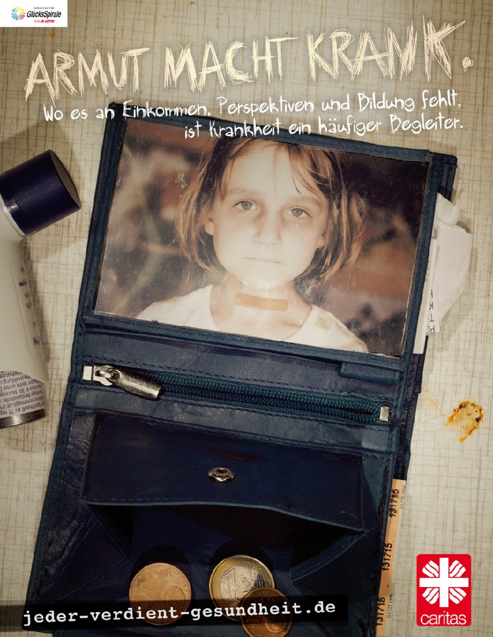 """Caritas-Kampagne """"Armut macht krank"""". Die Verwendung dieses Bildes ist für redaktionelle Zwecke honorarfrei. Veröffentlichung bitte unter Quellenangabe: """"obs/Deutscher Caritasverband e.V."""""""
