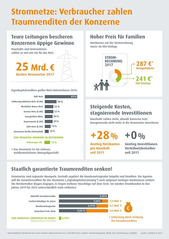 Netzentgelte-Urteil: Stromkunden sind Verlierer / Infografik: Stromleitungen kosten 25 Milliarden Euro im Jahr