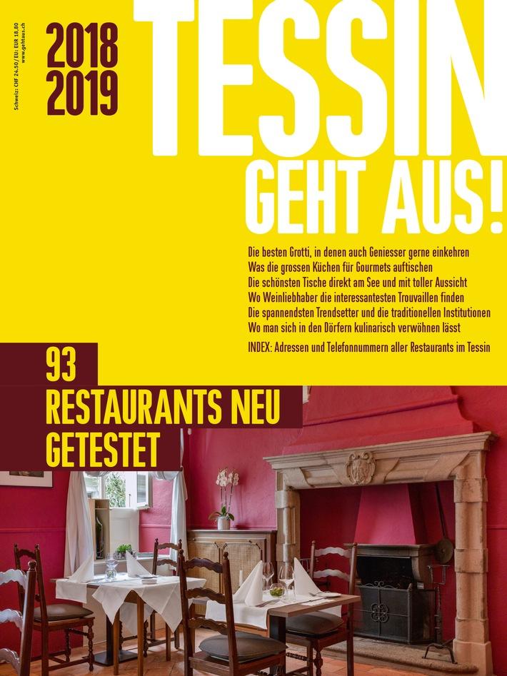 """TESSIN GEHT AUS! 2018/2019 / Die 93 besten Restaurants im Tessin / +++ Schlagwörter: TESSIN GEHT AUS!, Medien, Gourmedia AG, Gastronomie, Restaurants, Restaurantführer, Tessin +++ / Die Verwendung dieses Bildes ist für redaktionelle Zwecke honorarfrei. Veröffentlichung bitte unter Quellenangabe: """"TESSIN GEHT AUS! - www.gehtaus.ch"""" / Weiterer Text über ots und www.presseportal.ch/de/nr/100054154"""