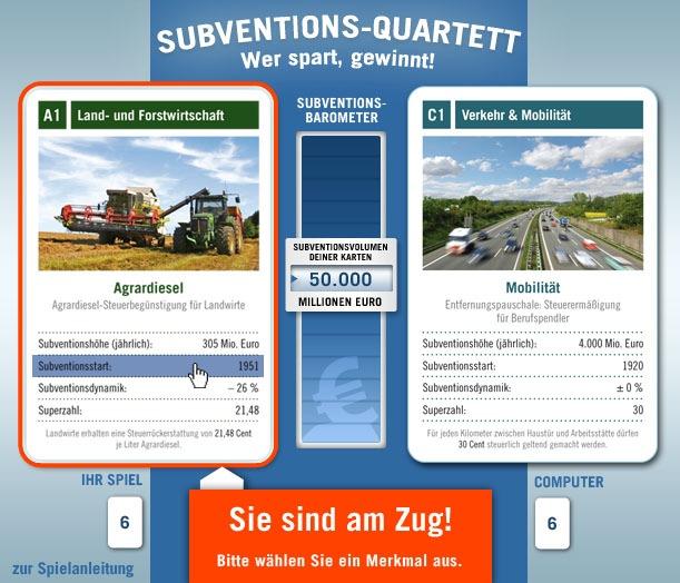 Neues Internet-Spiel zum Subventionsabbau: Subventions-Quartett: Wer spart, gewinnt! (mit Bild)