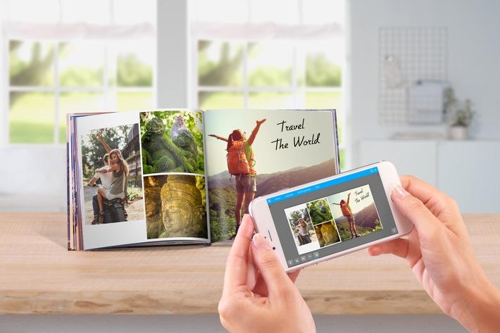 """Die neue Pixum App erstellt Fotobücher schnell und einfach. Weiterer Text über ots und www.presseportal.de/nr/24663 / Die Verwendung dieses Bildes ist für redaktionelle Zwecke honorarfrei. Veröffentlichung bitte unter Quellenangabe: """"obs/Pixum"""""""