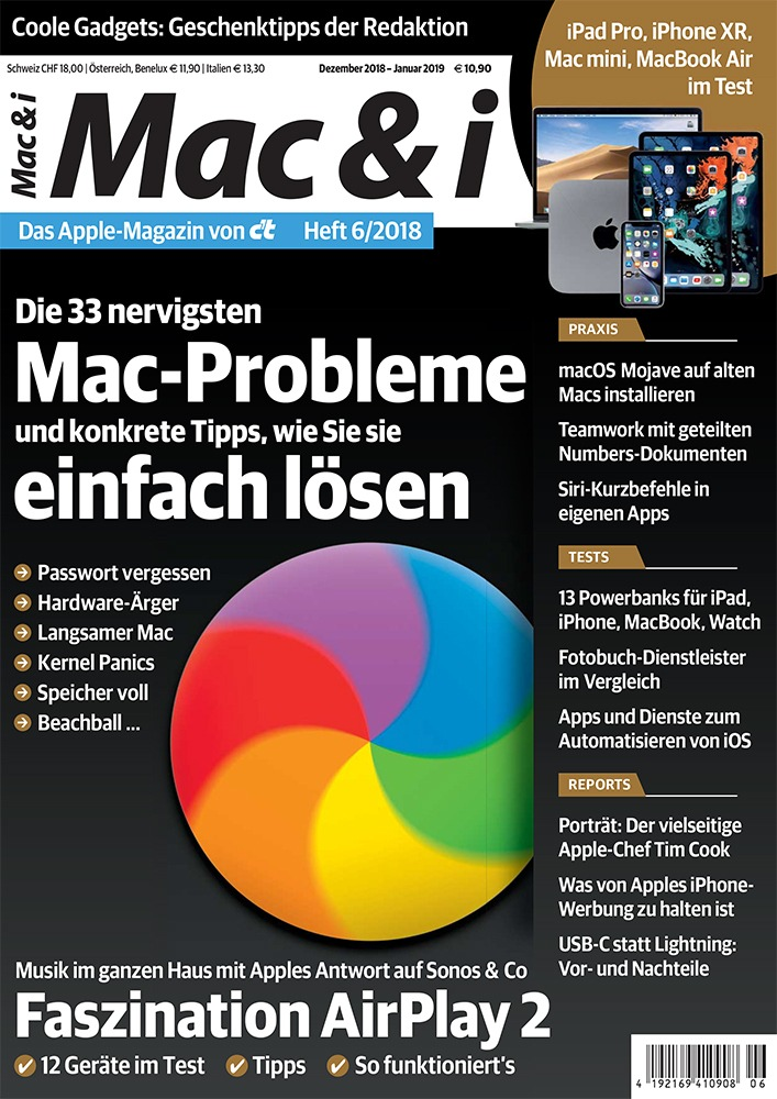 """Mac & i 6/18 Weiterer Text über ots und www.presseportal.de/nr/7833 / Die Verwendung dieses Bildes ist für redaktionelle Zwecke honorarfrei. Veröffentlichung bitte unter Quellenangabe: """"obs/c't"""""""