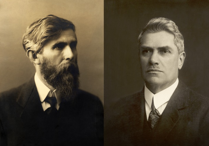 Buchhändler Václav Klement (l.) und der Mechaniker Václav Laurin