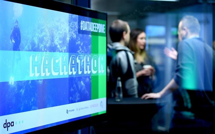 """Hackathon #DataDeepDive im Newsroom der Deutschen Presse-Agentur in Berlin: Rund 100 Entwickler, Journalisten und Data Scientists arbeiteten an neuen Modellen für datengetriebenen Journalismus und Geschäftsideen auf Basis von Algorithmen und künstlicher Intelligenz. Organisiert hat den Hackathon der internationale Startup-Beschleuniger next media accelerator (nma). (Foto: Britta Pedersen, dpa) Weiterer Text über ots und www.presseportal.de/nr/8218 / Die Verwendung dieses Bildes ist für redaktionelle Zwecke honorarfrei. Veröffentlichung bitte unter Quellenangabe: """"obs/dpa Deutsche Presse-Agentur GmbH/Britta Pedersen"""""""
