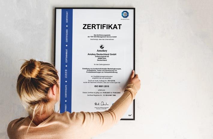 Das neue TÜV-Zertifikat der Amzkey GmbH / Weiterer Text über ots und www.presseportal.de/nr/155086 / Die Verwendung dieses Bildes ist für redaktionelle Zwecke unter Beachtung ggf. genannter Nutzungsbedingungen honorarfrei. Veröffentlichung bitte mit Bildrechte-Hinweis.