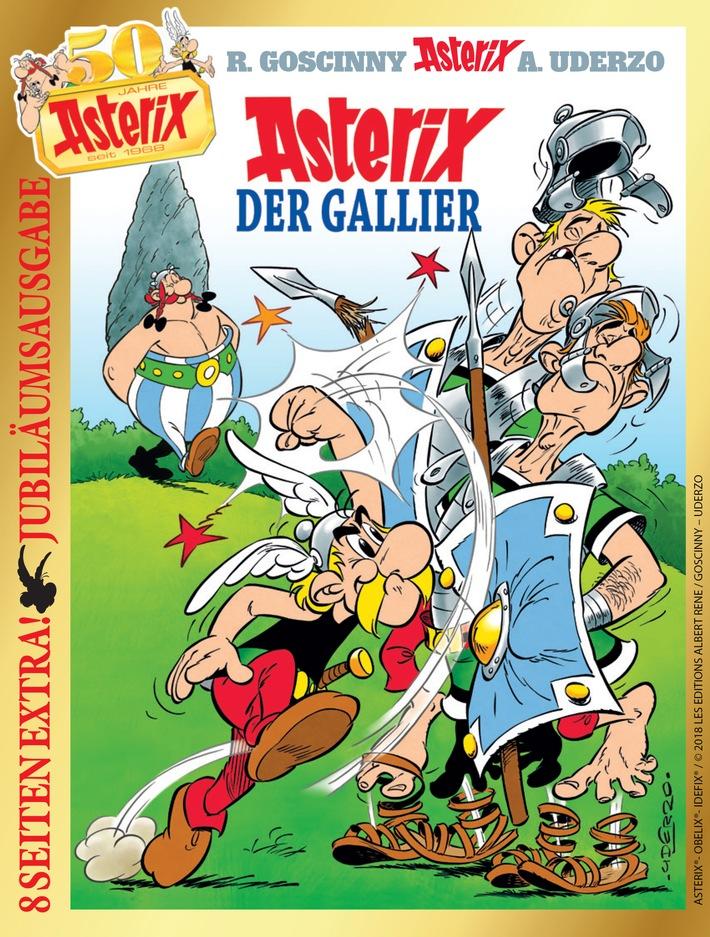 """Cover des Jubiläumsbands """"Asterix der Gallier"""", Asterix® - Obelix® - Idefix ® / © 2018 Les Éditions Albert René / Weiterer Text über ots und www.presseportal.de/nr/8146 / Die Verwendung dieses Bildes ist für redaktionelle Zwecke honorarfrei. Veröffentlichung bitte unter Quellenangabe: """"obs/Egmont Ehapa Media GmbH"""""""