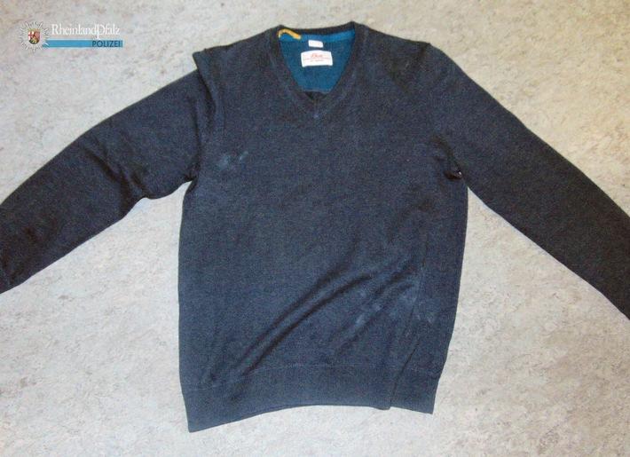 Wem gehört dieser Pullover? Er wurde am Mittwoch in Kaiserslautern aus einem Fahrradkorb gestohlen. Der Besitzer kann sich bei der Polizei melden.