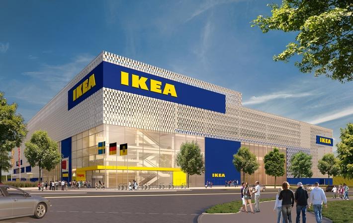 """IKEA setzt in Karlsruhe auf eine offene, helle Fassade mit großen Schaufenstern. Weiterer Text über ots und www.presseportal.de/nr/29291 / Die Verwendung dieses Bildes ist für redaktionelle Zwecke honorarfrei. Veröffentlichung bitte unter Quellenangabe: """"obs/IKEA Deutschland GmbH & Co. KG/Inter IKEA Systems B.V. 2018"""""""