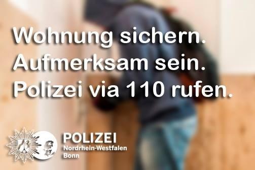 Einbrüche in Bad Godesberg auf der Godesberger Straße und der Laufenbergstraße am Montag. Wer hat etwas Verdächtiges beobachtet? Hinweise an das KK34 uner 0228/150.