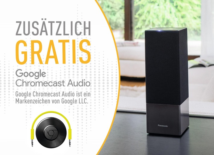 Weihnachten mit Panasonic und Google / Sprachgesteuerten Panasonic Lautsprecher SC-GA10 kaufen und Google Chromecast Audio gratis dazu bekommen