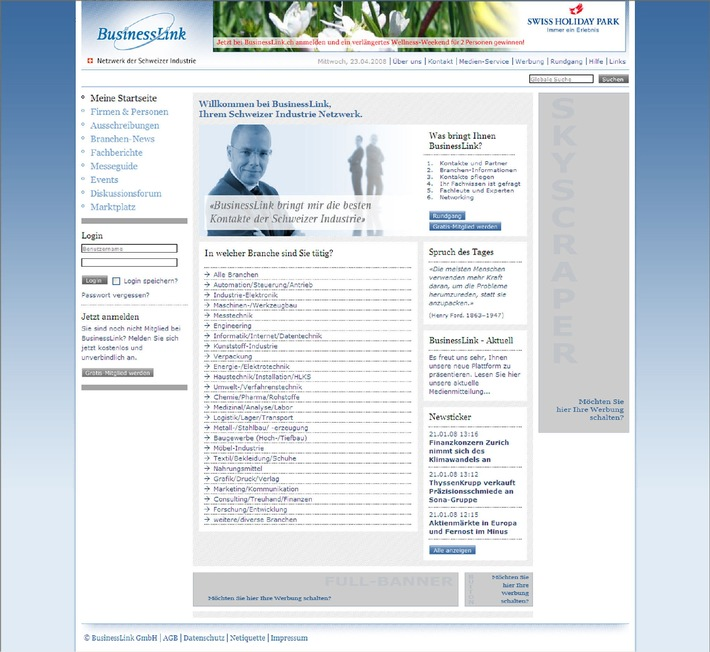 BusinessLink.ch mit neuer Networking Plattform