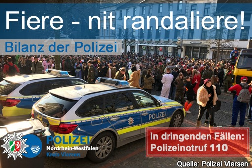 POL-VIE: Kreis Viersen: Karnevalsbilanz Tulpensonntag