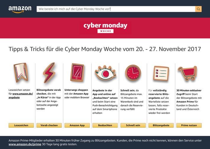 """Amazon Cyber Monday Woche 2017. Weiterer Text über ots und www.presseportal.de/nr/8337 / Die Verwendung dieses Bildes ist für redaktionelle Zwecke honorarfrei. Veröffentlichung bitte unter Quellenangabe: """"obs/Amazon.de"""""""