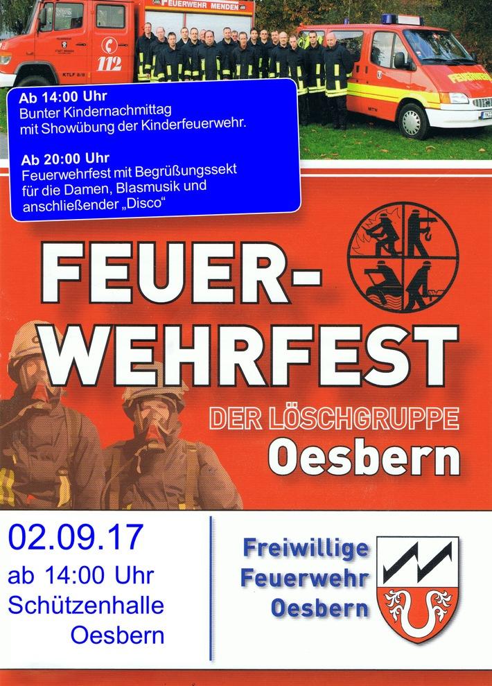 Plakat zum Feuerwehrfest in Oesbern