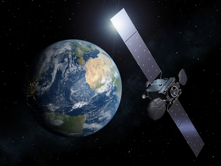 """Der Satellit Hispasat 36W-1 in seiner geostationären Position in 36.000 Kilometern Höhe. c)ESA / Weiterer Text über ots und www.presseportal.de/nr/69441 / Die Verwendung dieses Bildes ist für redaktionelle Zwecke honorarfrei. Veröffentlichung bitte unter Quellenangabe: """"obs/OHB SE"""""""
