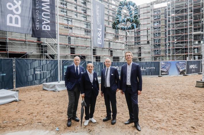 Premium-Wohnprojekt HPQ LIVING feiert Richtfest / Urban Evolution im HAFENPARK QUARTIER in Frankfurt-Ostend