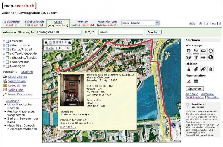 Mit map.search.ch neu Freizeit planen und zeichnen