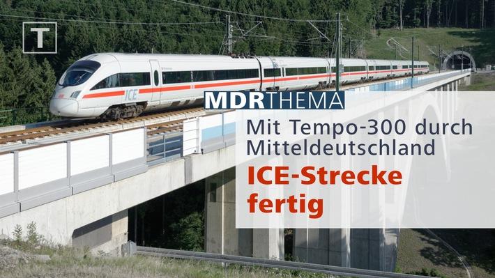 """Die neue ICE-Strecke """"Leipzig/Halle - Nürnberg"""" ist fertig: Am Freitag, 8. Dezember, berichtet der MDR live sowie in seinen tagesaktuellen TV- und Hörfunksendungen von der offiziellen Eröffnung der Bahntrasse - direkt vom zentralen ICE-Knoten in Erfurt. Dazu gibt es ein Online-Spezial. Weiterer Text über ots und www.presseportal.de/nr/7880 / Die Verwendung dieses Bildes ist für redaktionelle Zwecke honorarfrei. Veröffentlichung bitte unter Quellenangabe: """"obs/MDR Mitteldeutscher Rundfunk"""""""