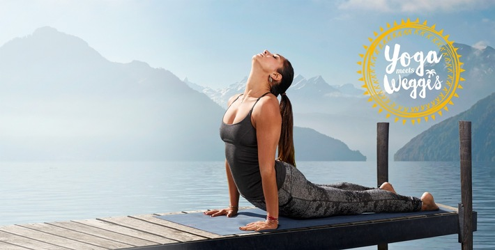 Ex-Miss-Schweiz und Yoga-Lehrerin Bianca Sissing beim Sonnengruss am Vierwaldstätersee.