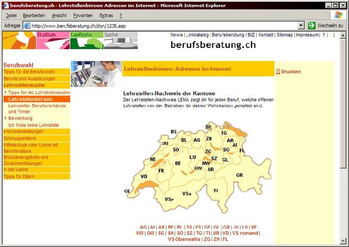Offene Lehrstellen aller Kantone auf berufsberatung.ch