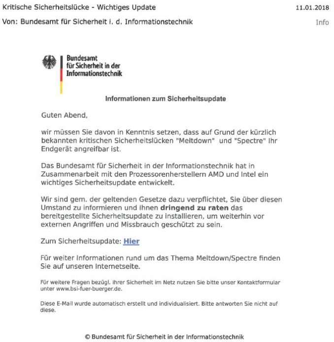 Phishing-Mail des BSI