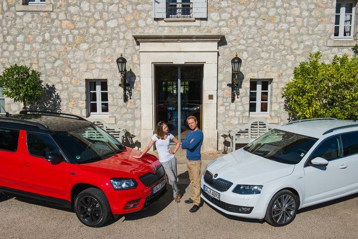 Prominente Schauspieler testen SKODA Yeti Monte Carlo und Octavia L&K