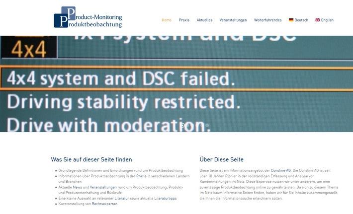 """The new platform product-monitoring.com Weiterer Text über ots und www.presseportal.de/nr/28739 / Die Verwendung dieses Bildes ist für redaktionelle Zwecke honorarfrei. Veröffentlichung bitte unter Quellenangabe: """"obs/Consline AG"""""""