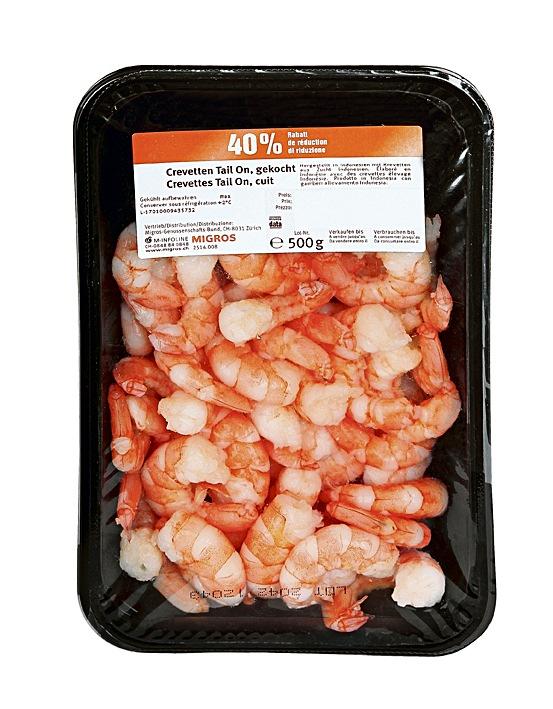 Migros rappelle des crevettes cuites Tail-on