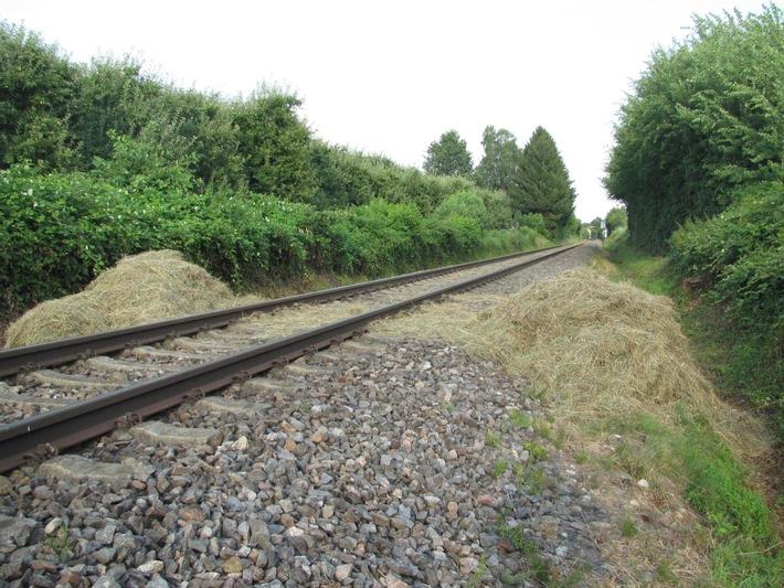 BPOLI-KN: Zug kollidiert mit Heuballen