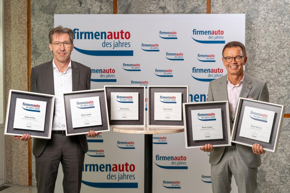Vom KAMIQ bis zum SUPERB iV: SKODA stellt sechs ,Firmenautos des Jahres 2020'
