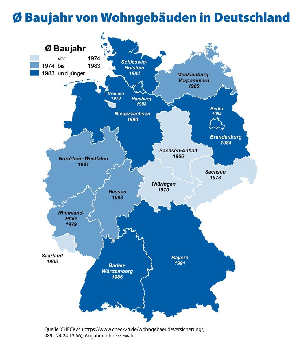 ▷ Im Saarland sind Wohnhäuser 26 Jahre älter als in Bayern ...