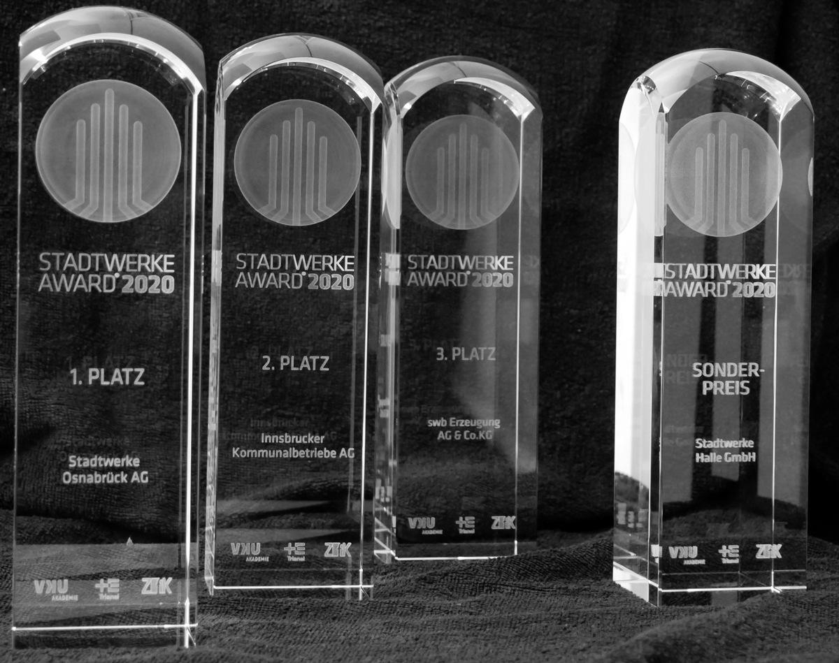 Stadtwerke-Projekte aus Osnabrück, Innsbruck, Bremen und Halle gewinnen den STADTWERKE AWARD 2020