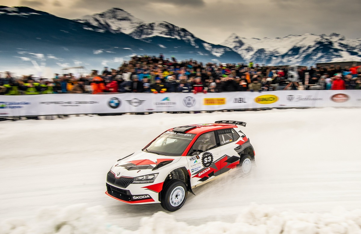 Fabian Kreim gewinnt ,Ice Race of Champions' von SKODA vor Julian Wagner in Zell am See