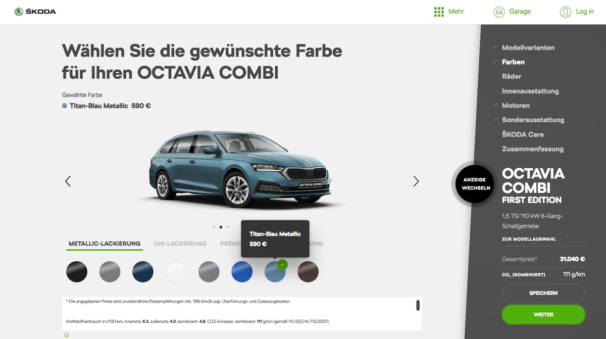 Noch schneller zum Wunschauto: Neuer SKODA Konfigurator bietet clevere Funktionen in frischem Design