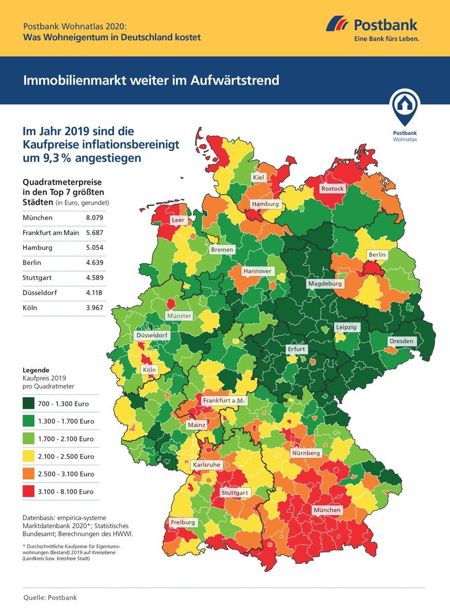 karte immobilienpreise deutschland ▷ Postbank Wohnatlas 2020 / Immobilienpreise weiter im Aufwind