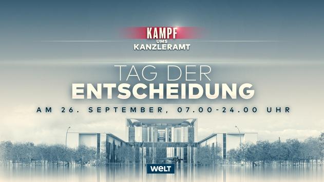 """""""Kampf ums Kanzleramt – Tag der Entscheidung"""": WELT Nachrichtensender am Wahlsonntag von 7 bis 24 Uhr live"""