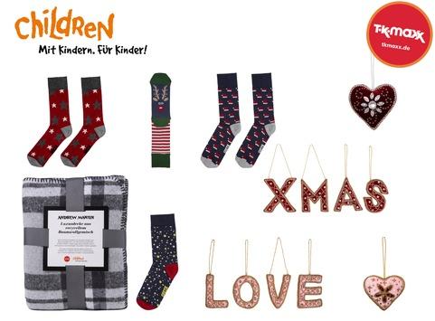 So einfach geht Gutes tun mit einem Einkauf bei TK Maxx / Mit dem Kauf von Charity-Weihnachtsartikeln unterstützen Kunden den TK Maxx Partner Children for a better World e.V. (kurz: CHILDREN)