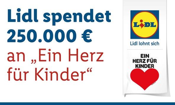 """Lidl spendet 250.000 Euro an """"Ein Herz für Kinder"""" / Lidl-Kunden unterstützen die Kinderhilfsorganisation durch den Kauf von nachhaltigem Holzspielzeug und Hörbüchern"""