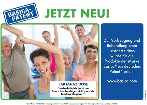 Basica® hat das Patent gegen Laktat-Azidose / Basisch zum Sport, mit starken Muskeln nach Hause
