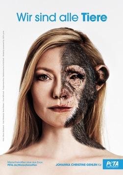 Neues PETA-Motiv: Johanna Christine Gehlen fordert als lebensechte Schimpansin: 'Menschenaffen raus aus Zoos!'