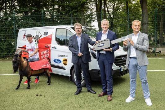 Emissionsfrei zum Stadion: FC-Maskottchen Hennes IX. fährt künftig elektrisch im eigens umgebauten Ford Transit Custom