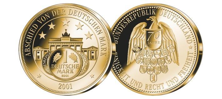 Vor 20 Jahren hieß es: Adieu Deutsche Mark / Die Deutsche Goldmünzen-Gesellschaft (DGG) würdigt den 20. Jahrestag des Abschieds mit einer außergewöhnlichen Gedenkprägung