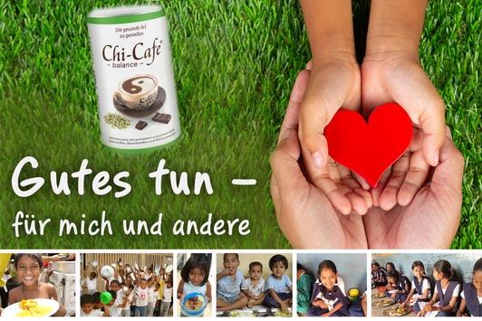 Chi-Cafe balance: Die gesunde Kaffee-Alternative für ein gutes Bauchgefühl / Gutes tun für mich und andere – mit jedem Chi-Cafe einem Kind in Not eine Mahlzeit spenden. In Apotheken erhältlich
