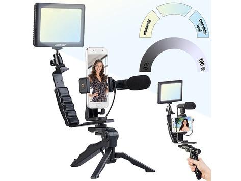 Somikon 4-teiliges Vlogging-Set mit LED-Leuchte, Mikrofon, Stativ & Halterung: Vlogs filmen wie die Profis – dank Akku jederzeit mobil!